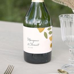 Etiquette bouteille mariage Herbier Mots doux, Champagne ou vin