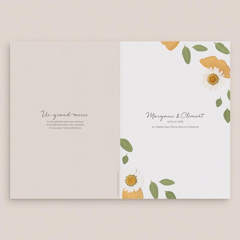 Livret de messe mariage Herbier Mots doux, Couverture gratuit