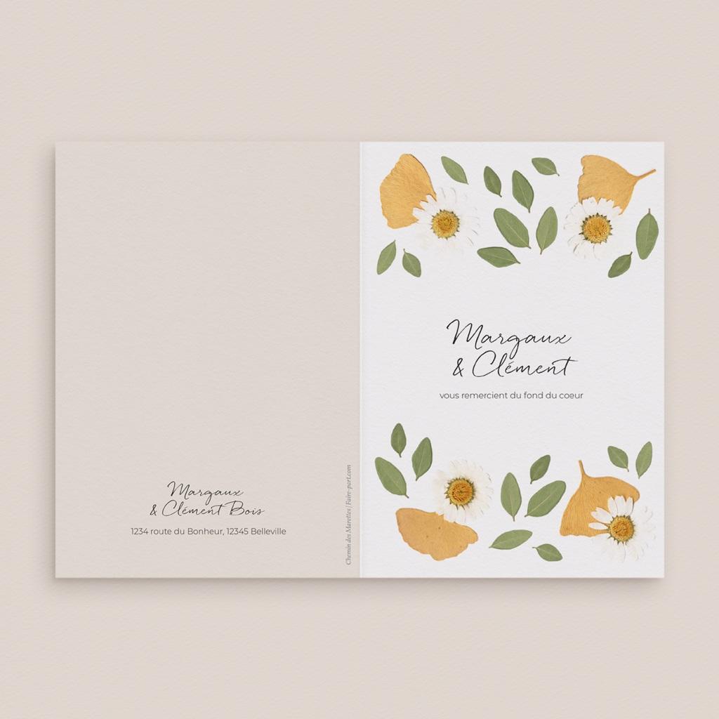 Carte de remerciement mariage Herbier Mots doux, 2 volets gratuit