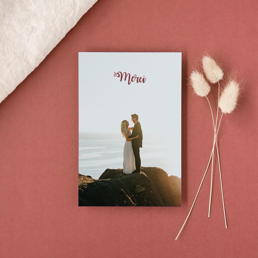 Carte de remerciement mariage Boho Bordeaux & Photo gratuit