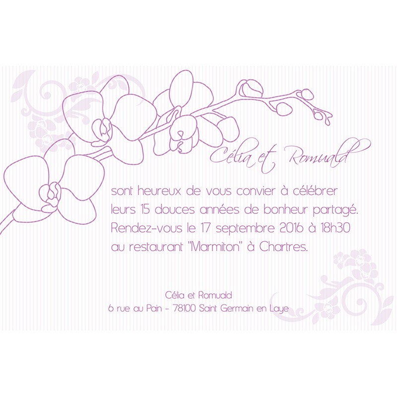 Carte anniversaire de mariage Orchidées  pas cher