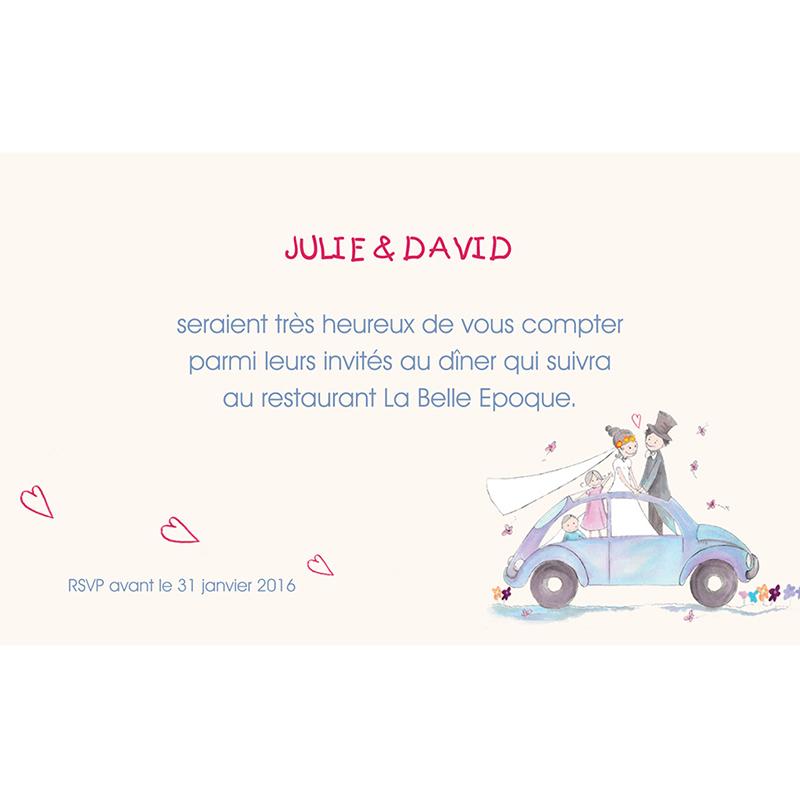 Carte d'invitation mariage La Coccinelle  pas cher