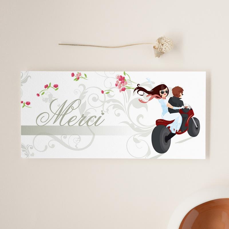 Carte de remerciement mariage Une moto pour 2