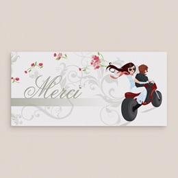 Carte de remerciement mariage Une moto pour 2 gratuit