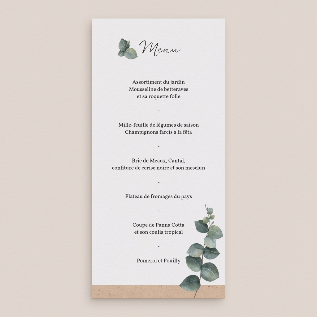 Menu mariage Liège d'Eucalyptus, repas gratuit
