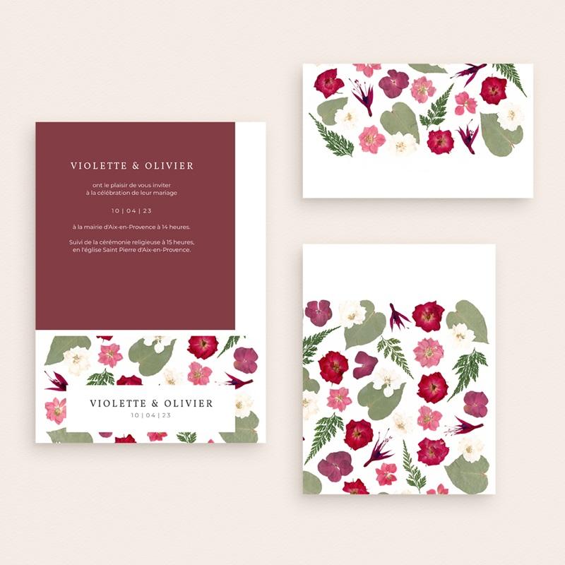 Faire-part de mariage Romance Florale, 3 en 1 gratuit