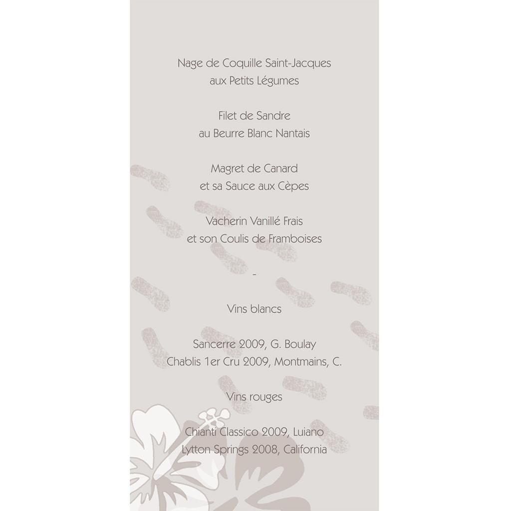 Menu mariage Hibiscus  gratuit