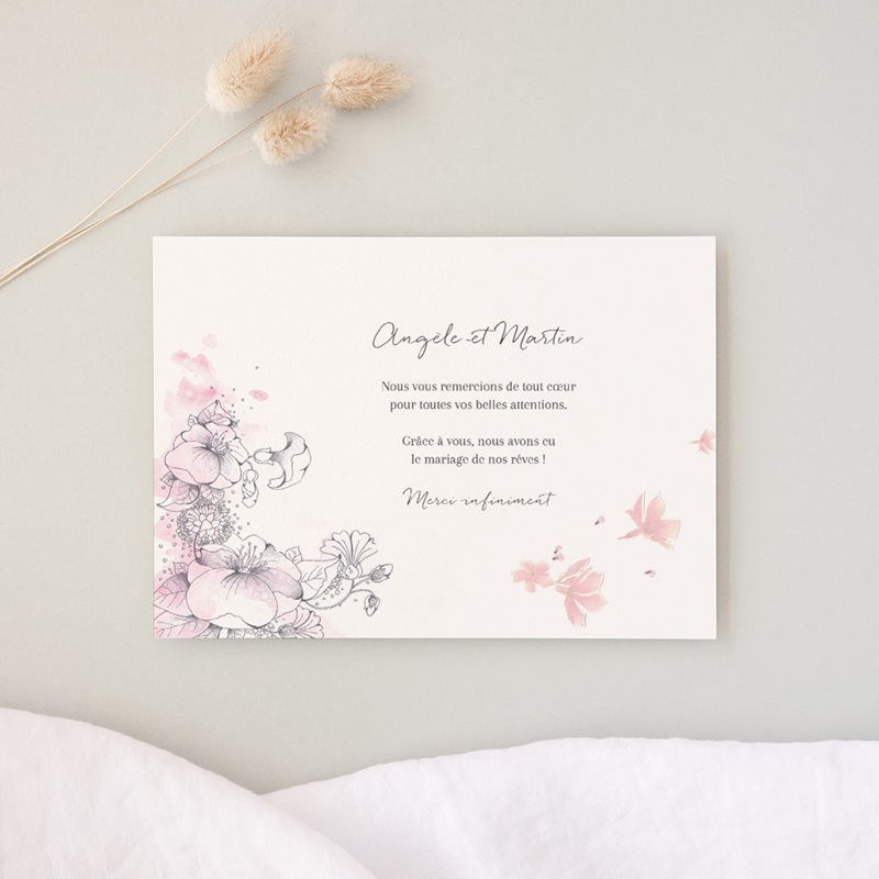 Carte de remerciement mariage Rêverie, photo