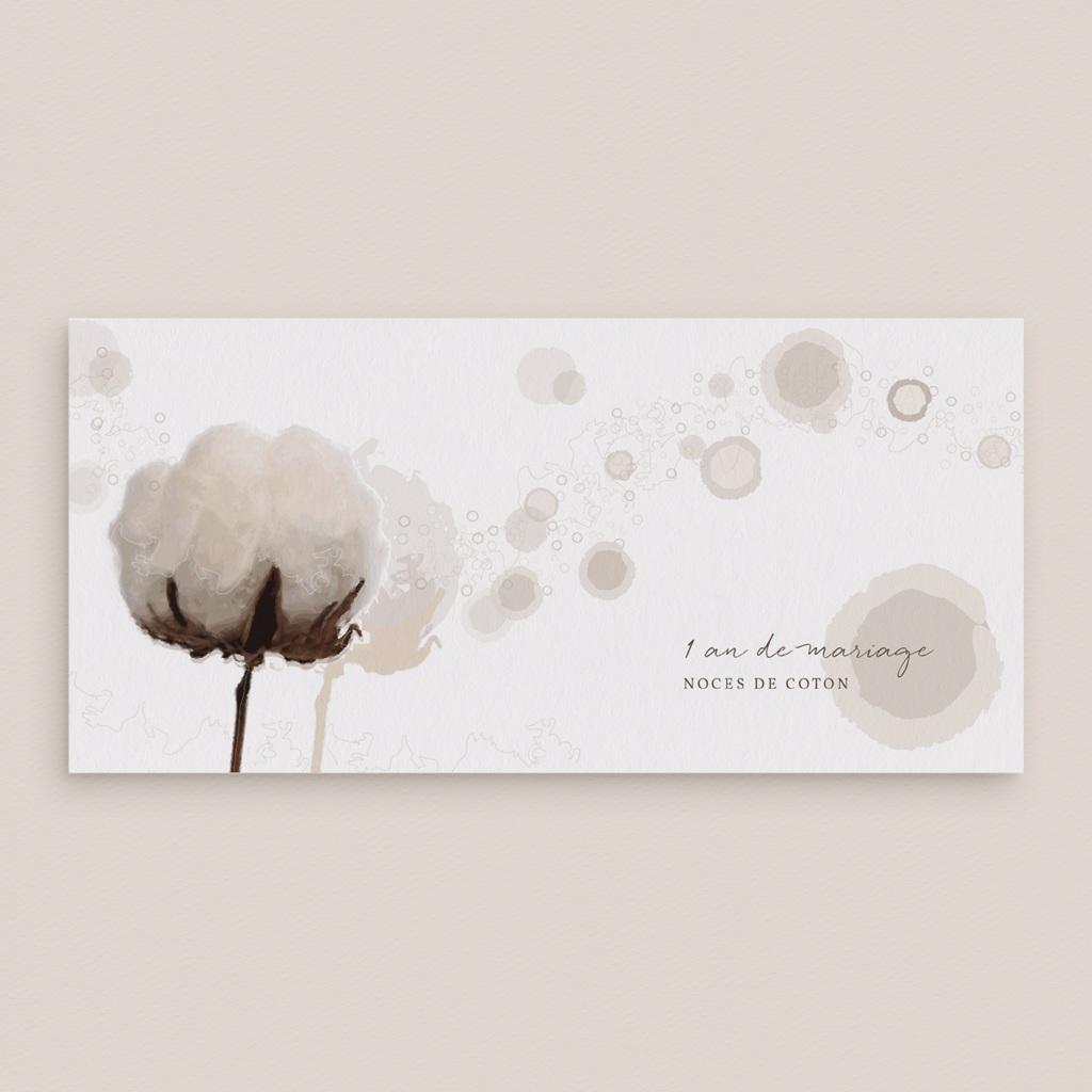 Carte anniversaire de mariage 1 an noces de coton - Panoramique simple gratuit