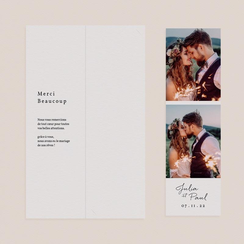 Carte de remerciement mariage Brins minimalistes, noir & blanc, 2 en 1 pas cher