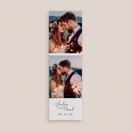 Carte de remerciement mariage Brins minimalistes, noir & blanc, 2 en 1 gratuit