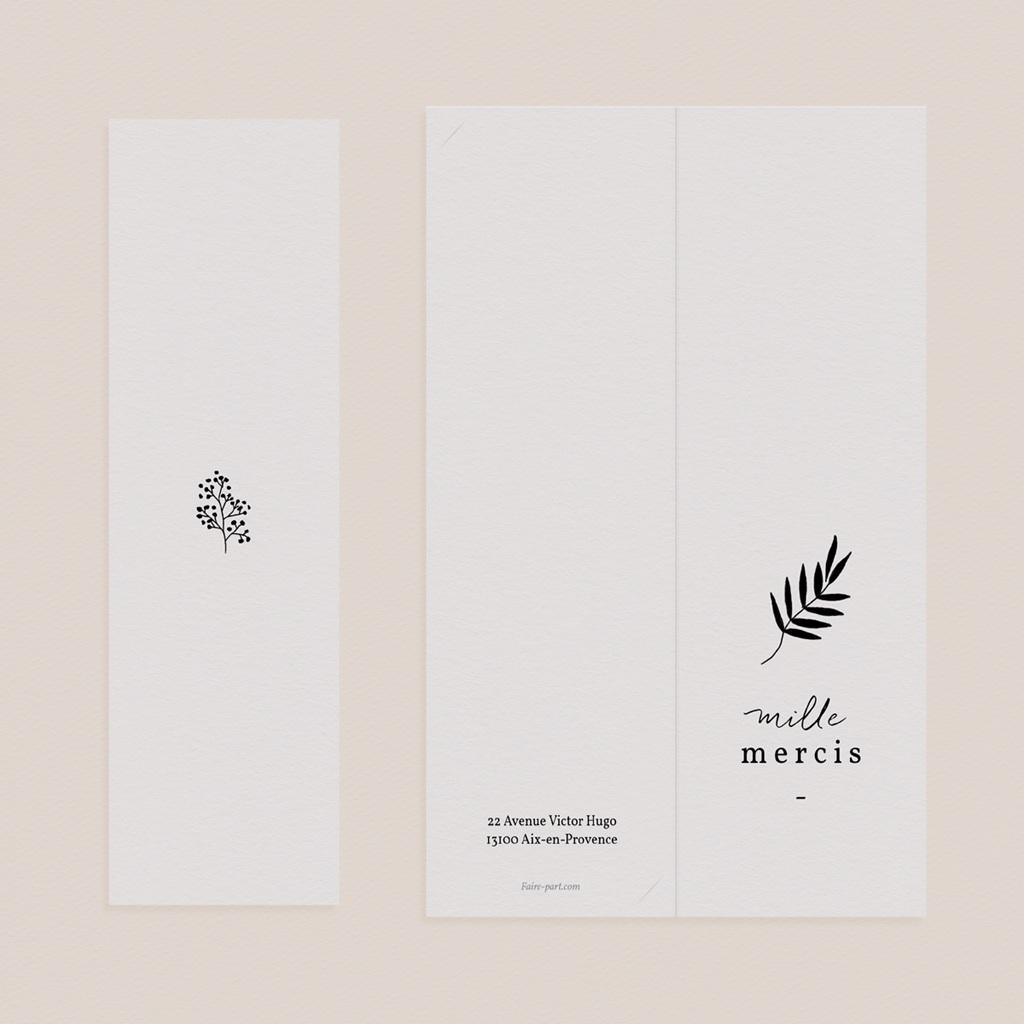 Carte de remerciement mariage Brins minimalistes, noir & blanc, 2 en 1