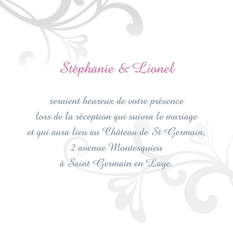 Carte d'invitation mariage Volutes  pas cher
