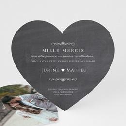 Carte de remerciement mariage Wedding cake ardoise - Coeur simple