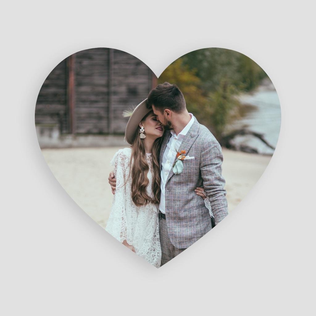 Carte de remerciement mariage Wedding cake ardoise - Coeur simple pas cher