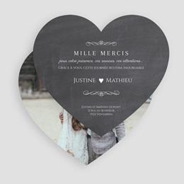 Carte de remerciement mariage Wedding cake ardoise - Coeur simple gratuit