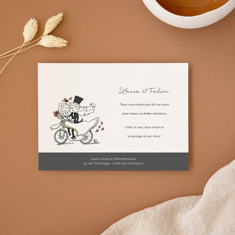 Carte de remerciement mariage Vélo à deux - Rectangle simple