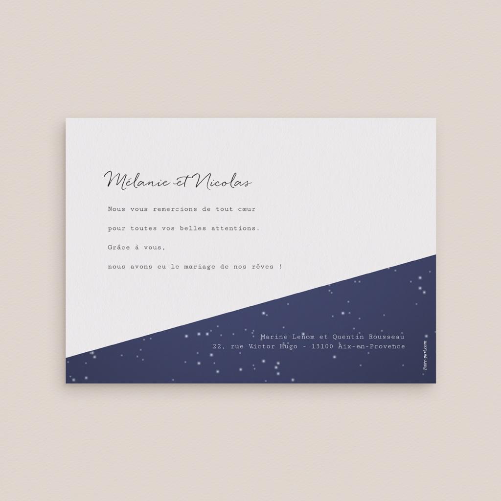 Carte de remerciement mariage Nuit étoilée - Rectangle simple pas cher