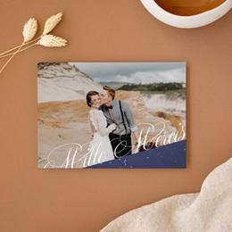 Carte de remerciement mariage Nuit étoilée - Rectangle simple