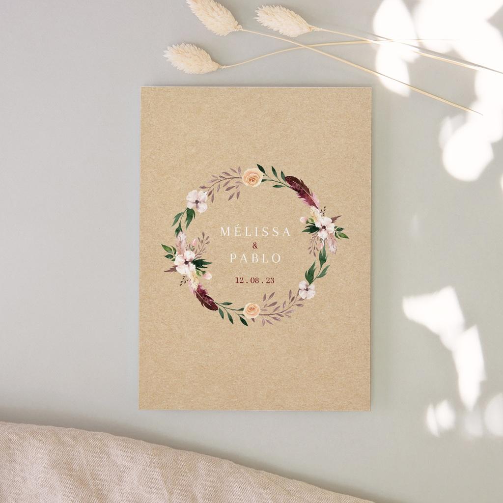 Faire-part de mariage Boho - rectangle simple