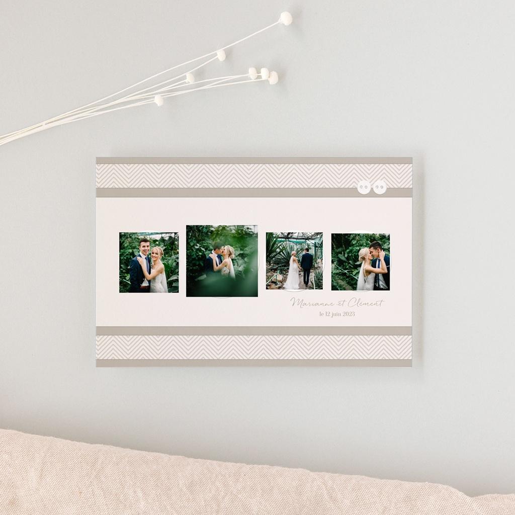 Carte de remerciement mariage Sépia - Rectangle simple gratuit
