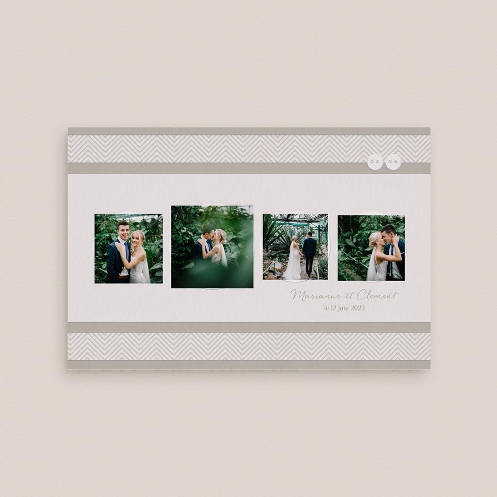 Carte de remerciement mariage Sépia - Rectangle simple