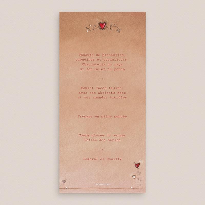 Menu mariage Tendre espièglerie beige rose, simple pas cher