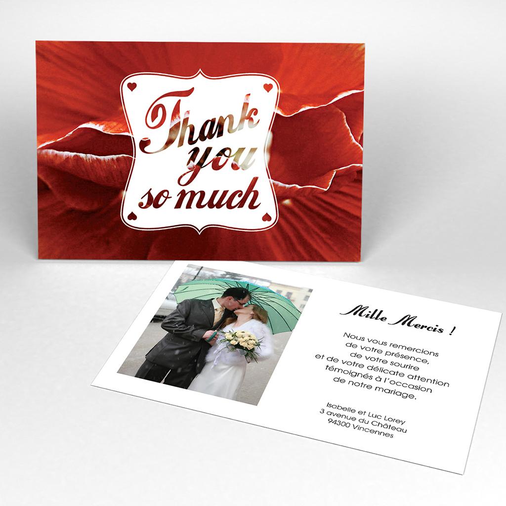 Carte de remerciement mariage A notre image carré