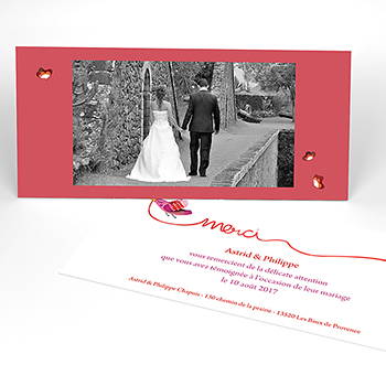 Carte de remerciement mariage Ode à l'amour