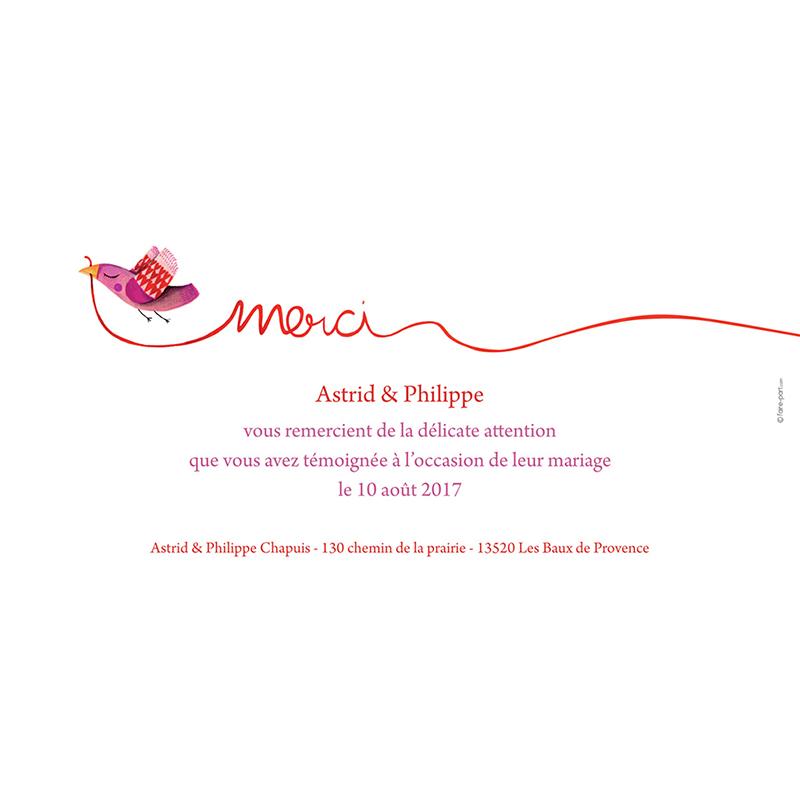 Carte de remerciement mariage Ode à l'amour  gratuit