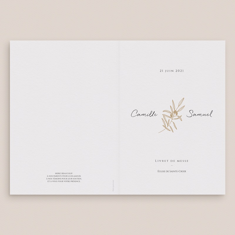 Livret de messe mariage Le Brin doré, Couverture gratuit
