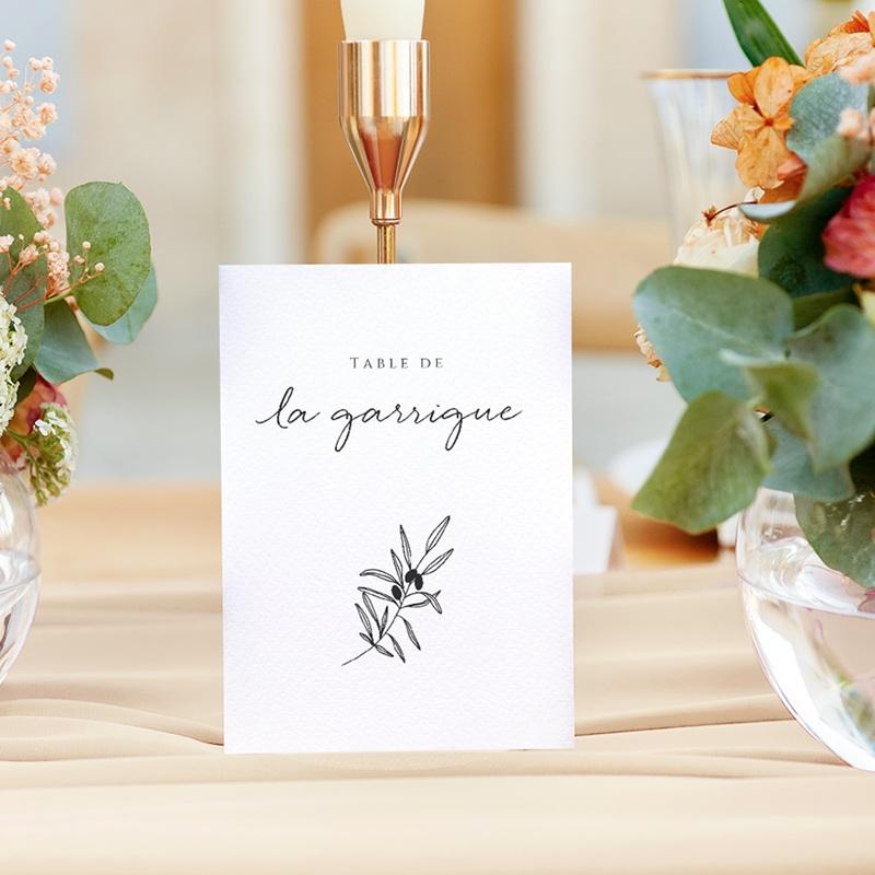 Marque table mariage Le Brin doré, Lot de 3