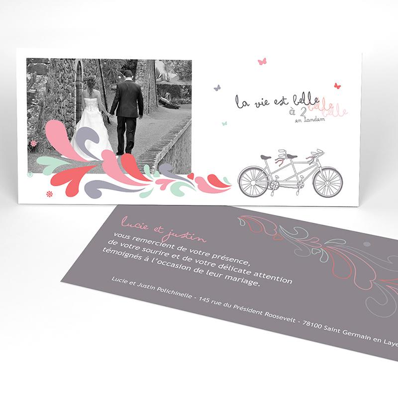 Carte de remerciement mariage Tandem