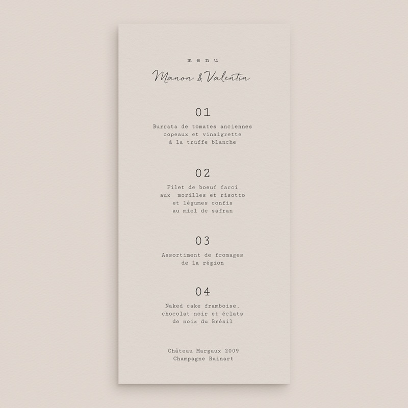 Menu mariage Globe de fleurs bohèmes, Repas de noces gratuit
