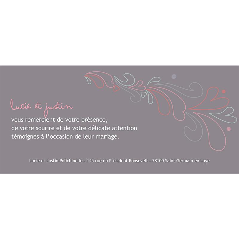 Carte de remerciement mariage Tandem  gratuit