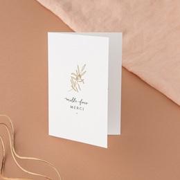 Carte de remerciement mariage Le Brin doré, Double, 10,5 x 15 cm