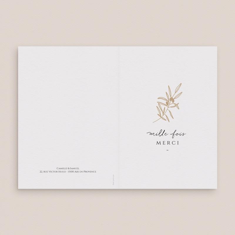 Carte de remerciement mariage Le Brin doré, Double, 10,5 x 15 cm gratuit