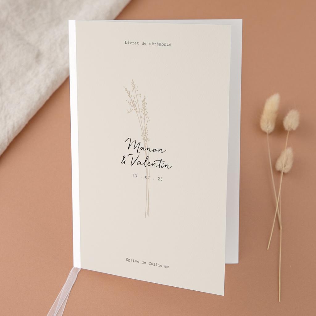 Livret de messe mariage Globe de fleurs bohèmes, Couverture