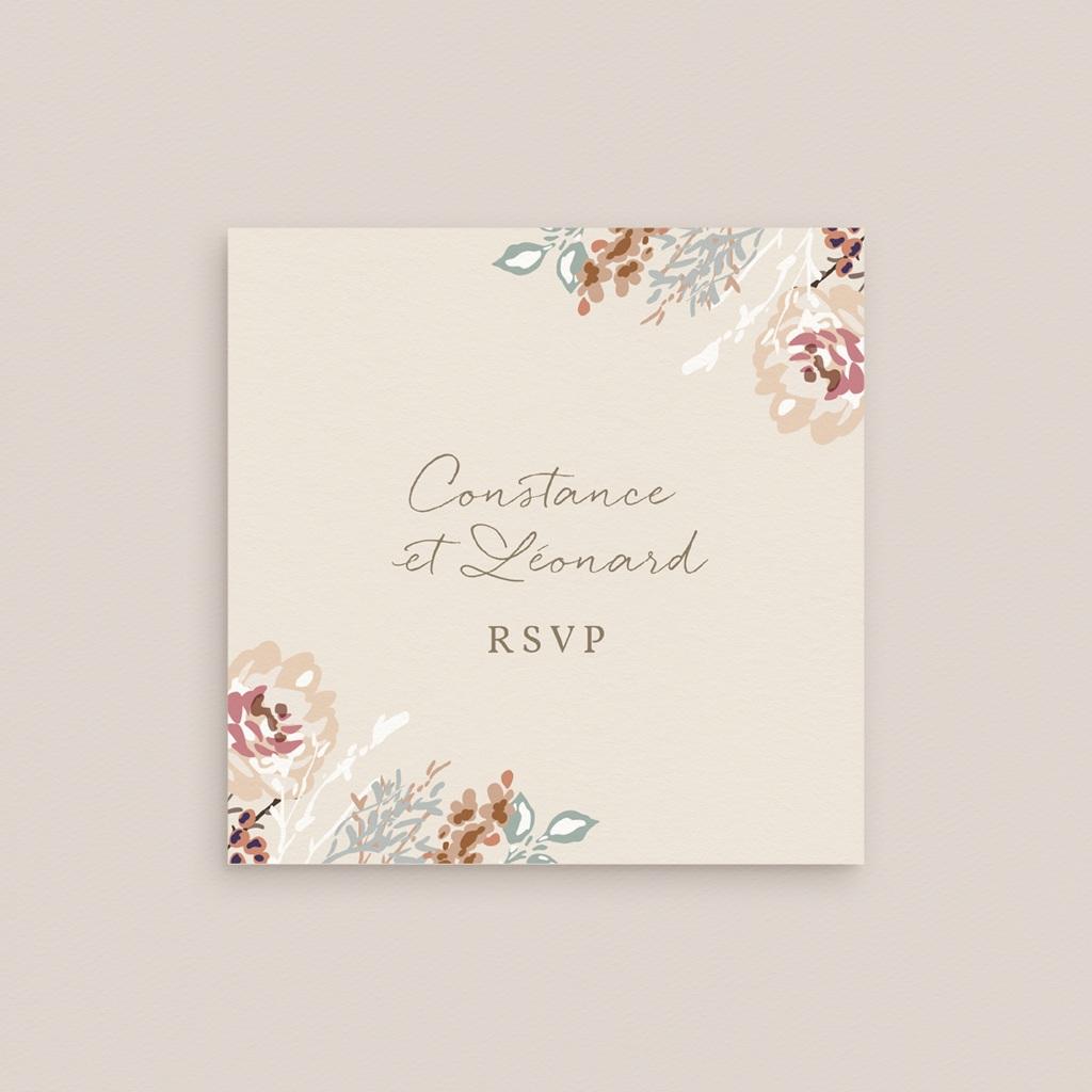Carton réponse mariage Fleurs Colorées & Kraft, Rsvp gratuit