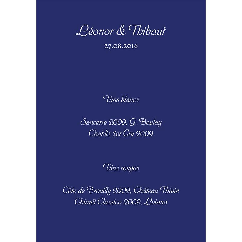Menu mariage Un jour d'amour bleu argent gratuit