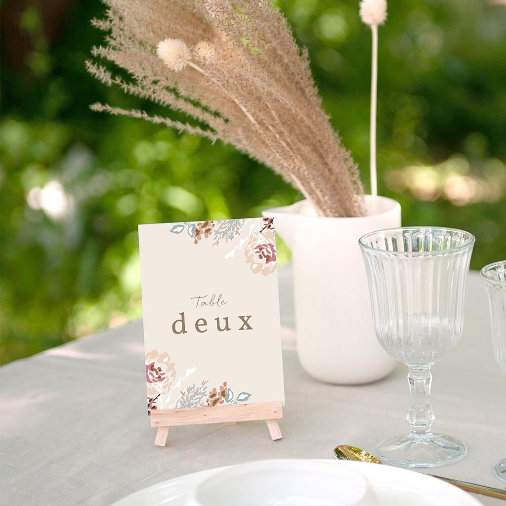 Marque table mariage Fleurs Colorées & Kraft, x 3 gratuit