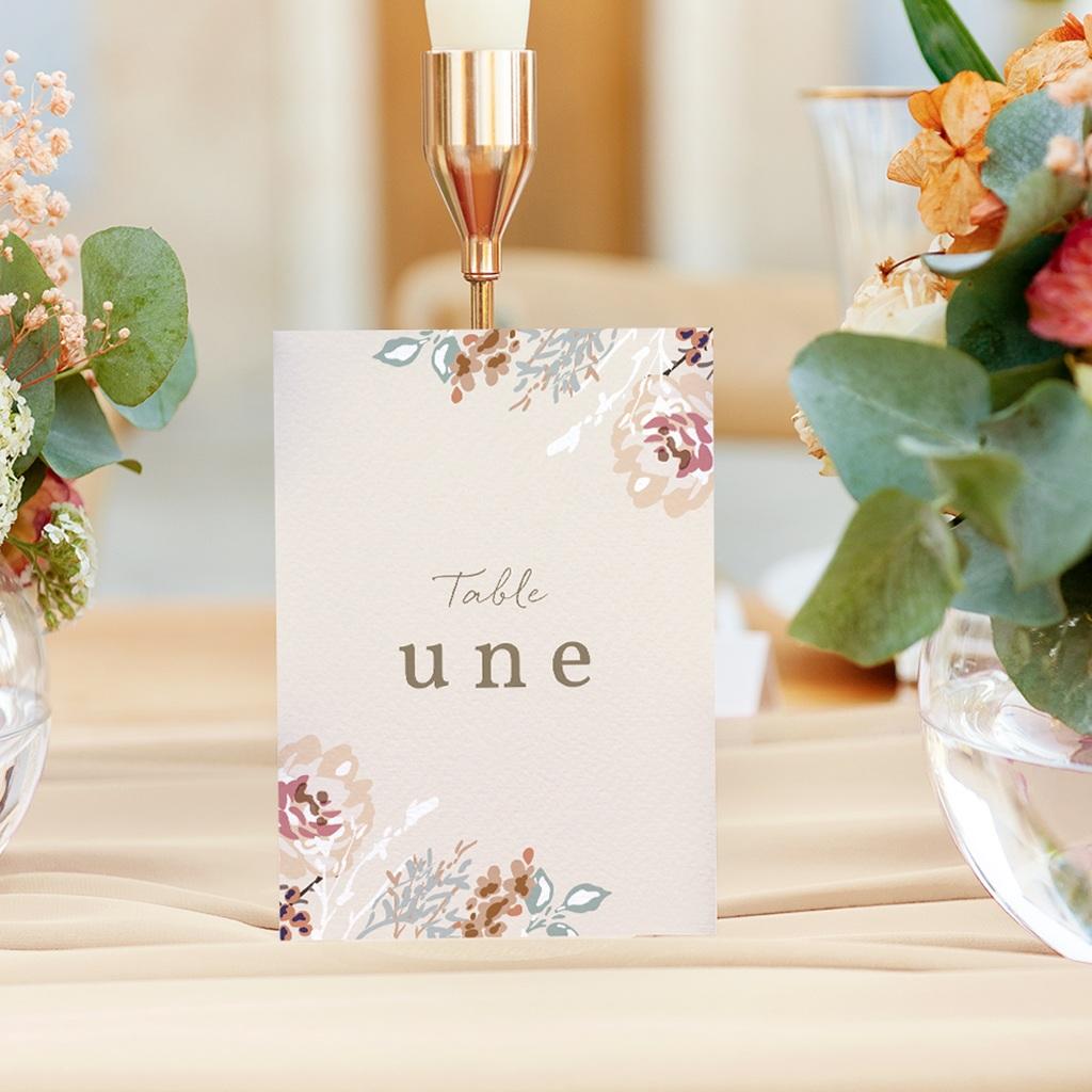 Marque table mariage Fleurs Colorées & Kraft, x 3