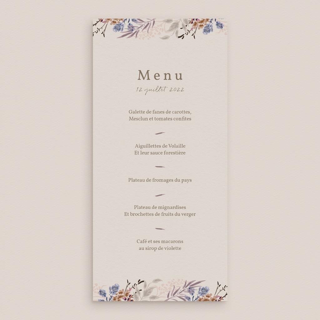 Menu mariage Fleurs Colorées & Kraft, Repas gratuit