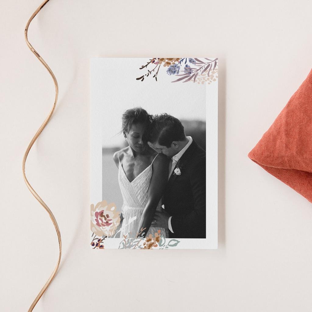Carte de remerciement mariage Fleurs Colorées & Kraft, portrait