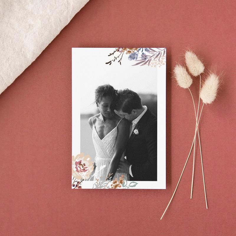 Carte de remerciement mariage Fleurs Colorées & Kraft, portrait gratuit