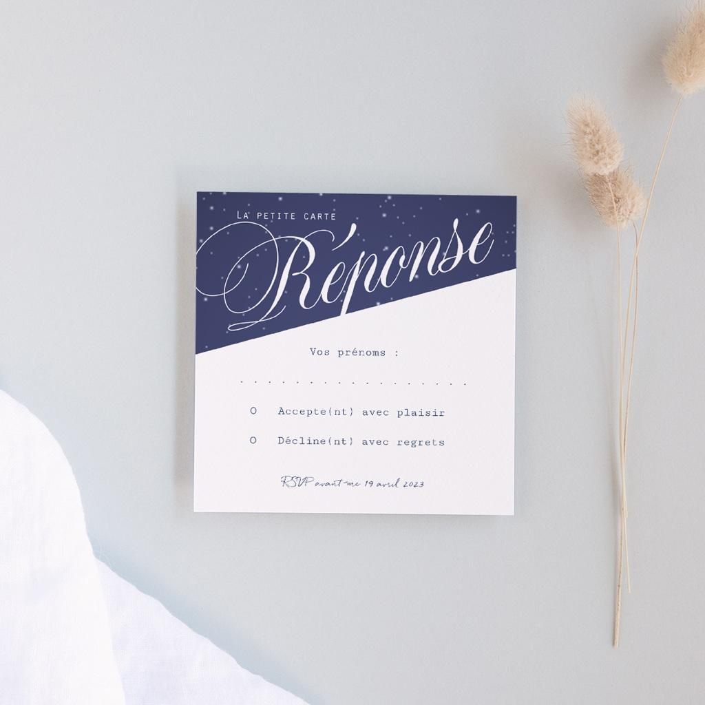 Carton réponse mariage Nuit étoilée, 10 x 10