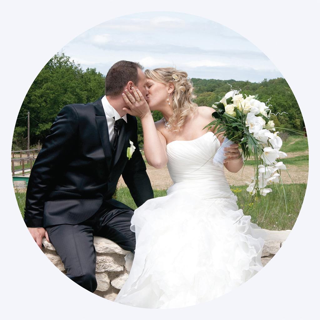 Carte de remerciement mariage Pretty love story rond pas cher