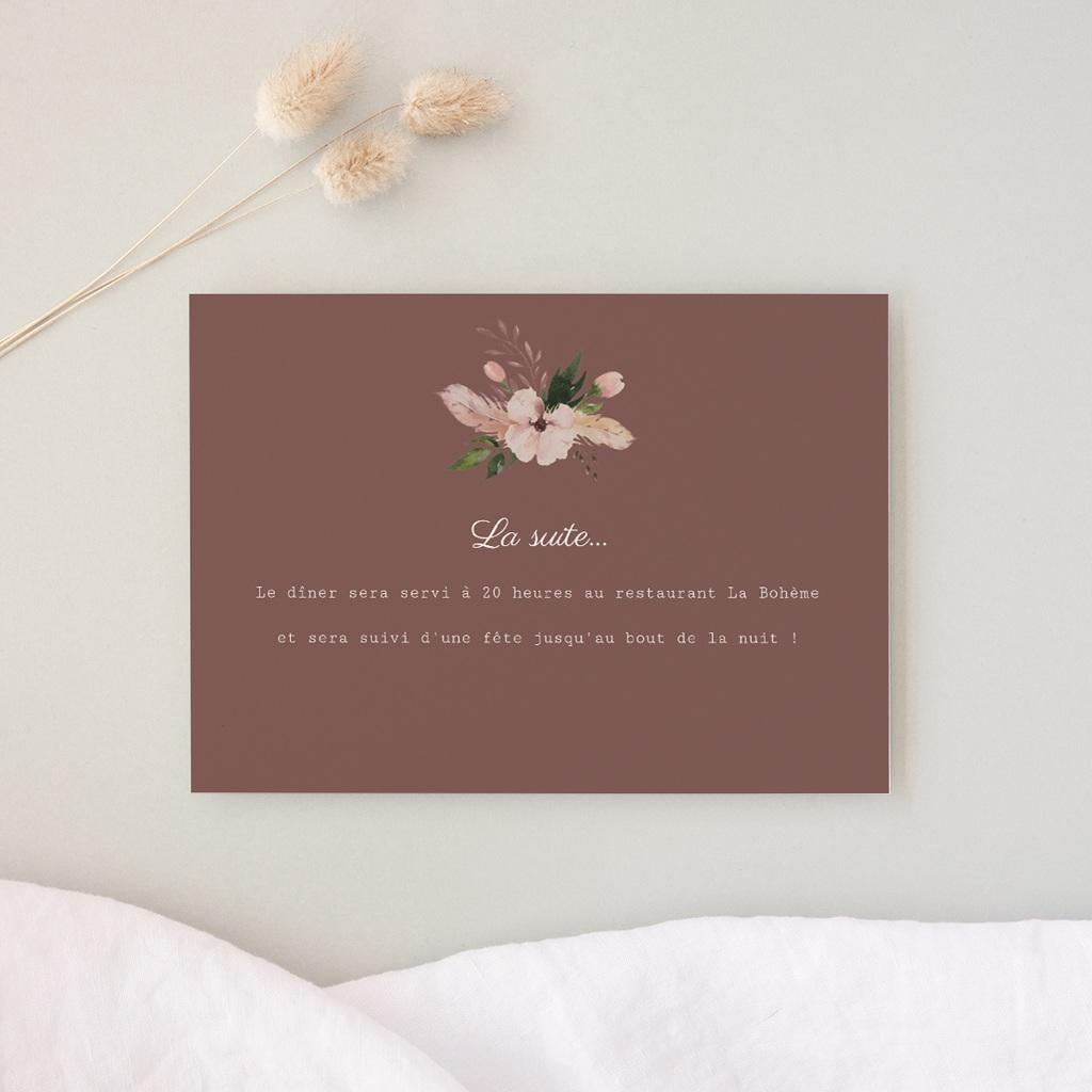 Carte d'invitation mariage Boho - Carte invitation rectangle