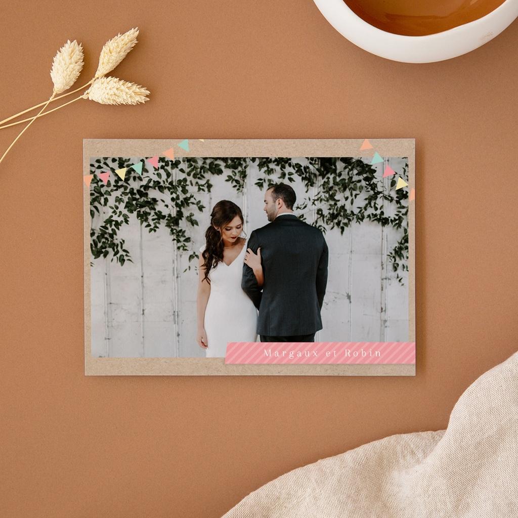 Faire-part de mariage Pretty love story, Panoramique double