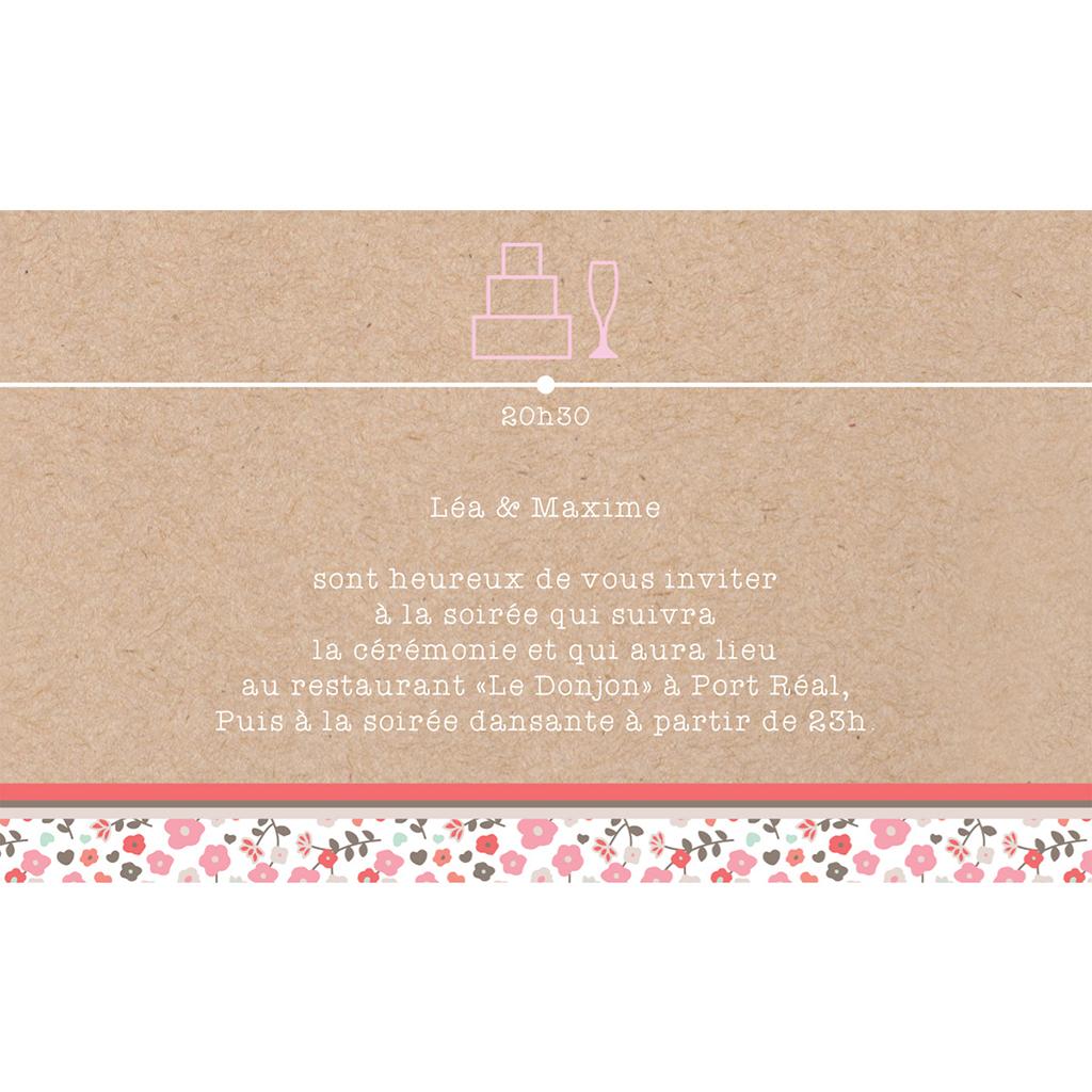Carte d'invitation mariage Liberty  pas cher